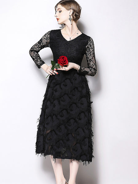 Chic Lace Stitching Lacing Tassels Black Party Dress