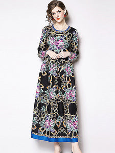 Vintage Print O-Neck Long Sleeve Skater Maxi Dress