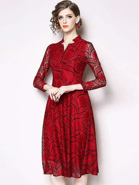 Party Hollow Out Lace red 3/4 Sleeve Big Hem Dress