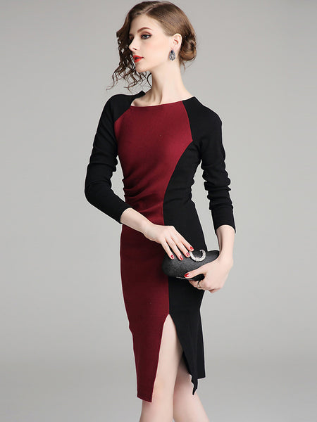 Fashion Stitching Hit Color Boat Neck Split Sheath Dress