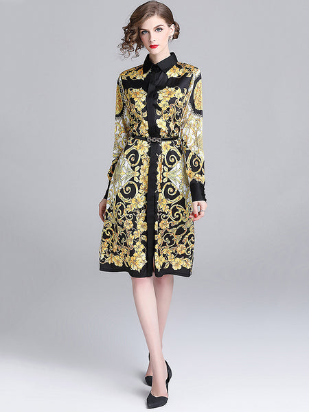 Chic Floral Printed Long Sleeve Turn-Down Collar Dress