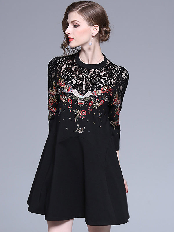 Black Lace Embroidery Print 3/4 Sleeve Fit & Flare Dress