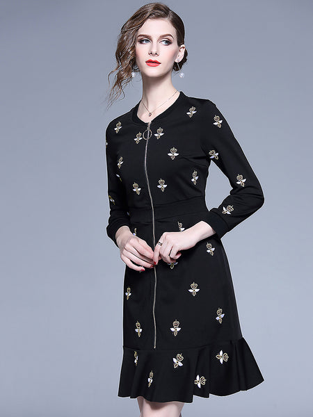 Chic Bees Embroidery Zipper Long Sleeve Falbala Mermaid Dress