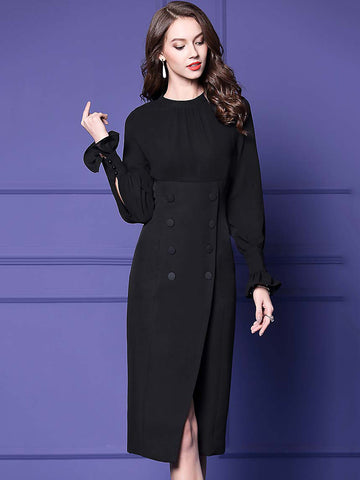 Hit Color O-Neck Long Sleeve Slit Bodycon Dress