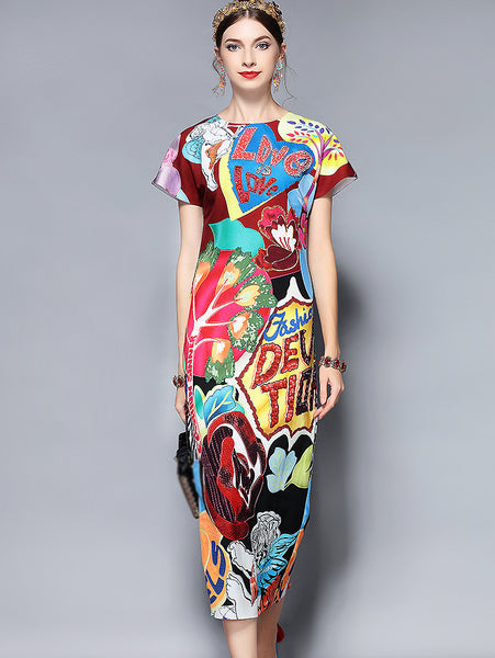 Fashion Short Sleeve Gorgeous Crystal Letter Beading Printed Dress
