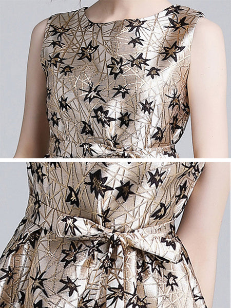 Chic Lacing Collect Waist Jacquard Sleeveless Fit & Flare Dress