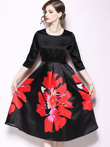 Fashion Chic Slim Floral Print Stitching O-Neck Big Hem Midi Dress