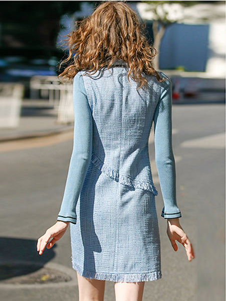 Slim Hit Color Bowknot O-Neck Long Sleeve Fit & Flare Dress