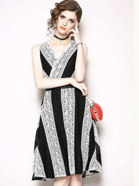 Fashion Work Sleeveless V-Neck Slim Fit & Flare Dress