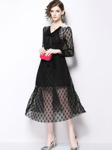 Chic Lace Stitching V-Neck Long Sleeve Fit & Flare Dress