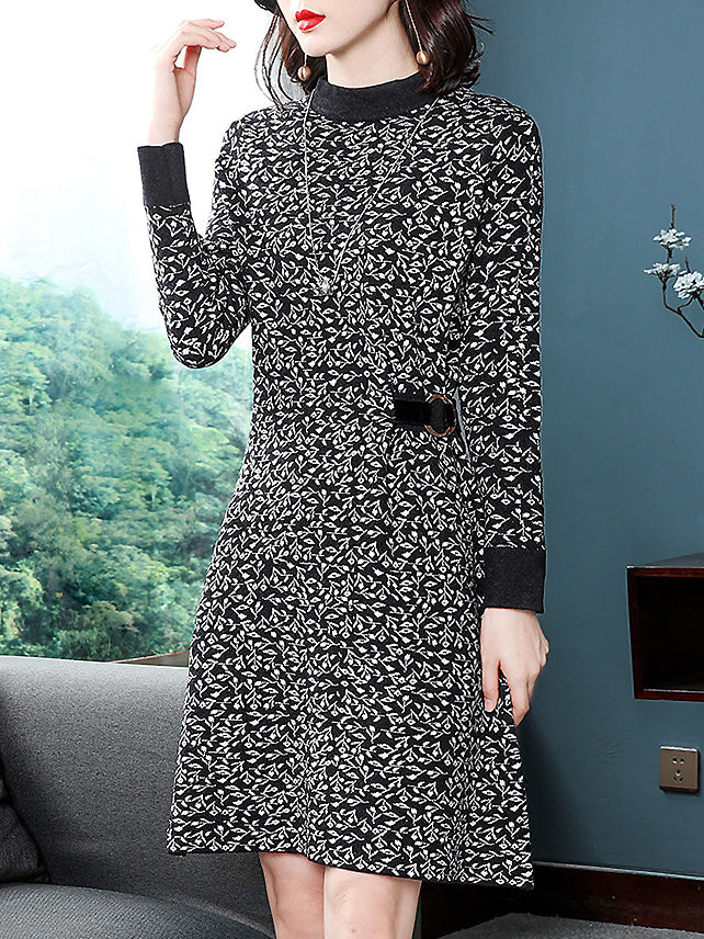 Elegant Knitted Hit Color Stand Collar Long Sleeve With Belted Dress