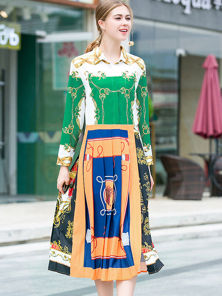 Fashion Print Hit Color Turn-Down Collar Pleated Dress