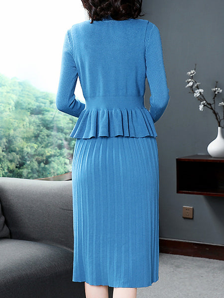 Elegant Pure Color Pleated Bodycon Dress and Collect Waist Falbala Vest Two-Piece Suit