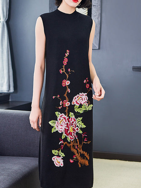 Chic Chinoiserie Embroidery Slim O-Neck Sleeveless Shift Dress