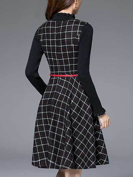 Fashion Plaid O-Neck Long Sleeve Skater Dress