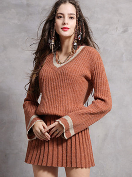 Vintage Knitted V-Neck Flare Long Sleeve Skater Dress