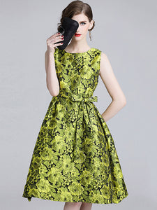 Chic Floral Print Collect Waist Jacquard Sleeveless Fit & Flare Dress