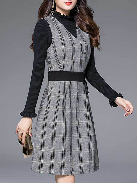 Casual Stripe Lacing V-Neck Long Sleeve Fit & Flare Dress