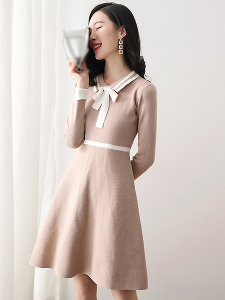 Suave Stitching Turn-Down Collar Long Sleeve Gathered Waist A-Line Dress