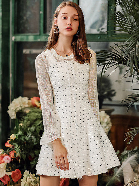 Cute Chic Polka Dots Stitching A-Line Jumper Skirt