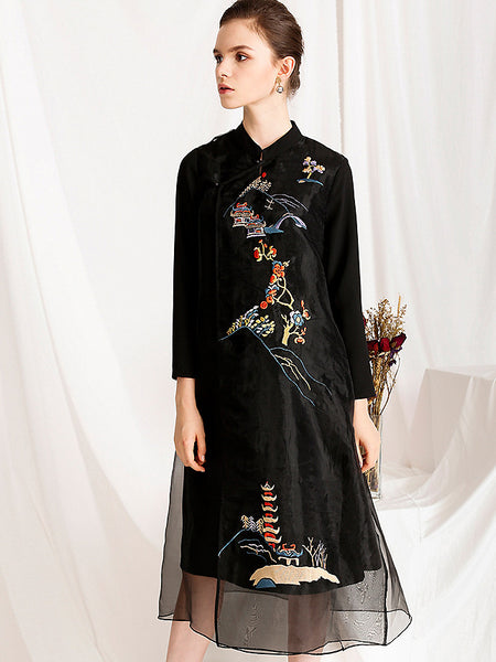 Folk Scrawl Embroidery Organza Fit & Flare Dress
