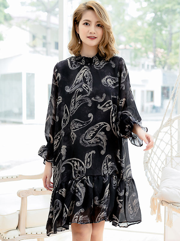 Simple Gauze Feather Print Falbala Hem Dress