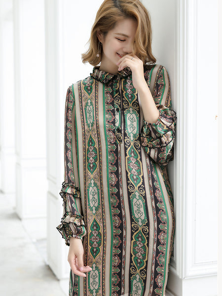 Simple Print Turn-Down Collar Puff Sleeve Shift Dress