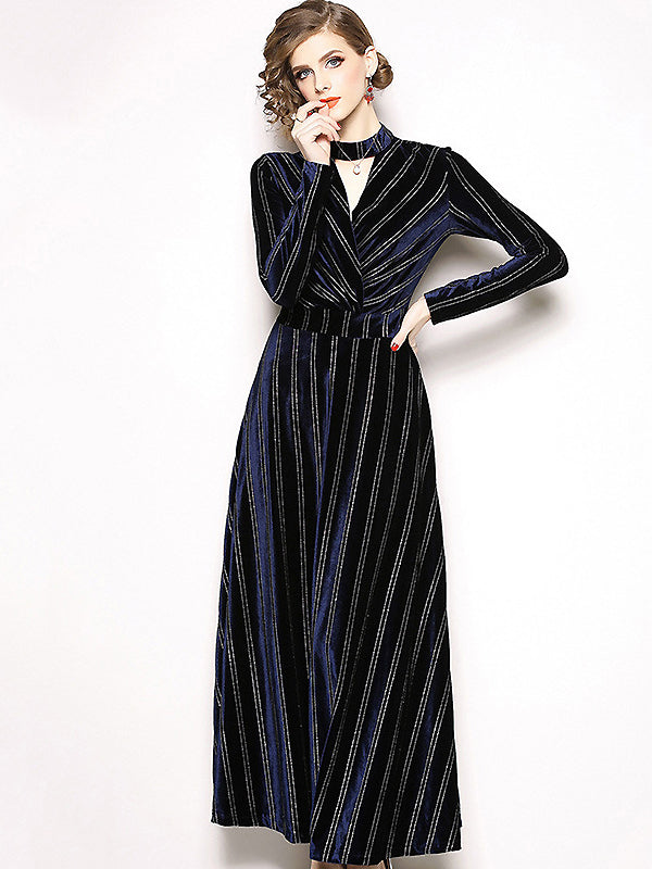 Vintage Elegant Velour V-Neck Long Sleeve A-Line Slim Maxi Dress