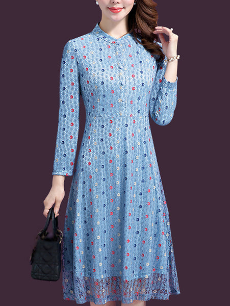 Vintage Lace Stitching Polka Dots V-Neck Midi Dress