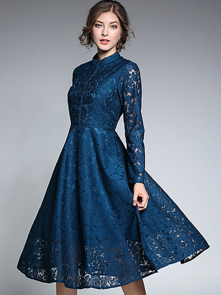 Vintage Elegant Lace O-Neck Long Sleeve Big Hem Slim Midi Dress