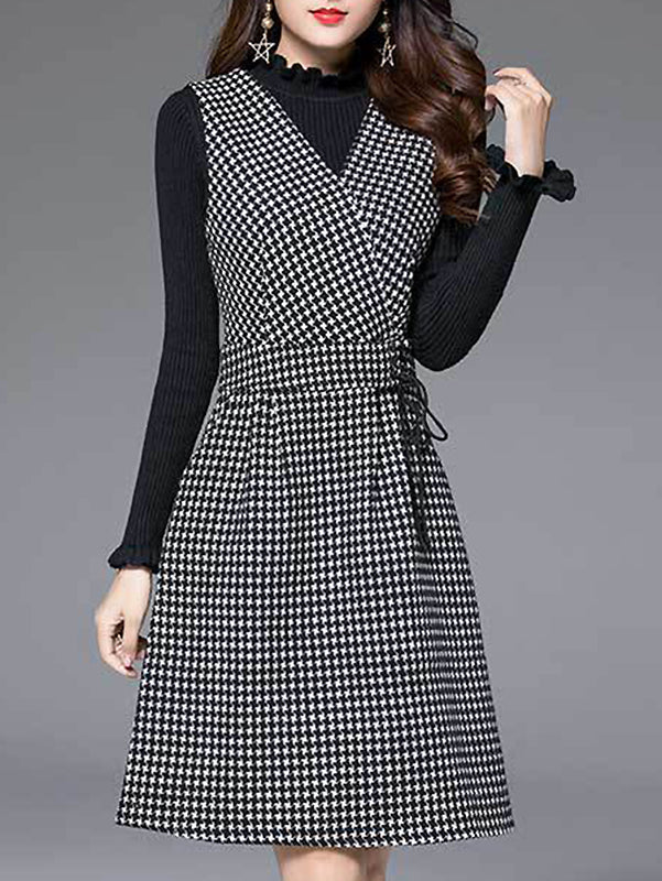Fashion Houndstooth V-Neck Long Sleeve Skater Dress