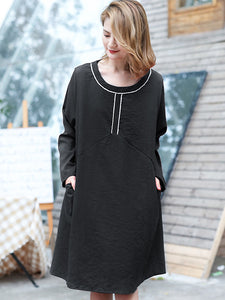Loose Lacing O-Neck Long Sleeve Shift Dress