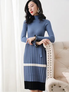 Suave Knitted Hit Color Stitching Long Sleeve Lacing Skater Dress