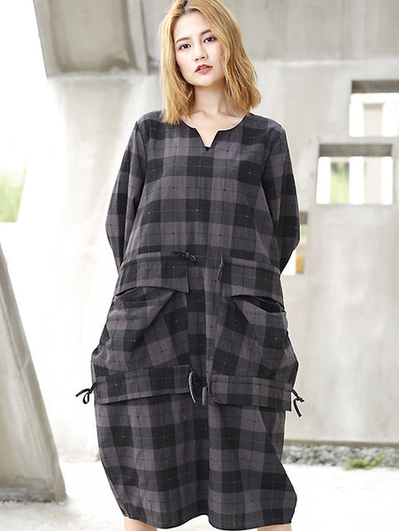 Casual Cotton Plaid V-Neck Big Pocket Lacing Shirtdress
