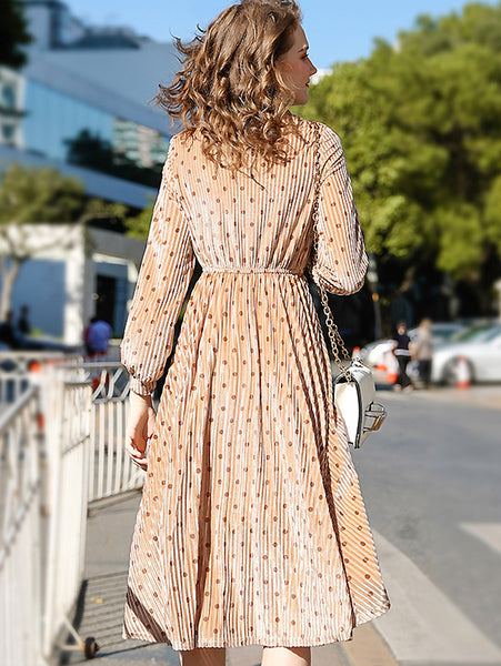Elegant Chic Print Bowknot V-Neck Long Sleeve Pleated Midi Dress