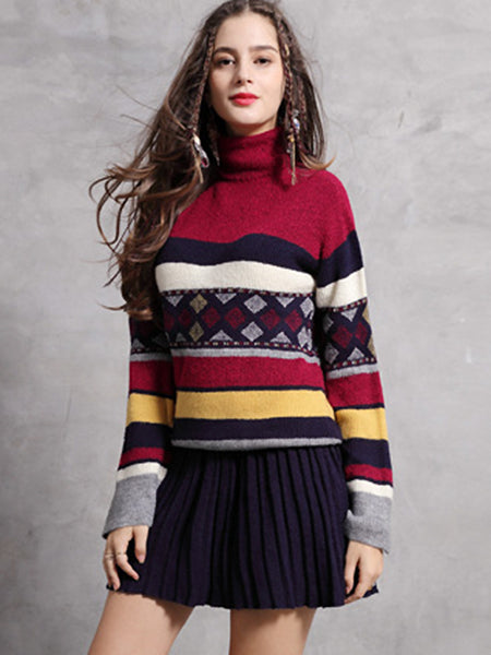 Vintage Knitted High Collar Long Sleeve Skater Dress