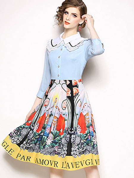Chic Lace Turn-Down Collar Buttoned Print 3/4 Sleeve Fit & Flare Dress