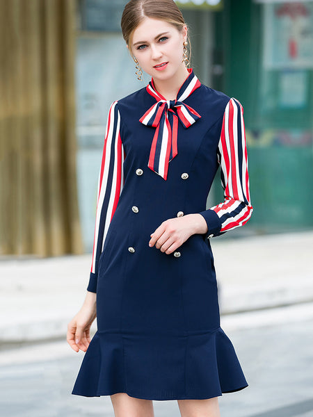 Stripe Stitching Bowknot Collar Gathered Waist Fit & Flare Dress