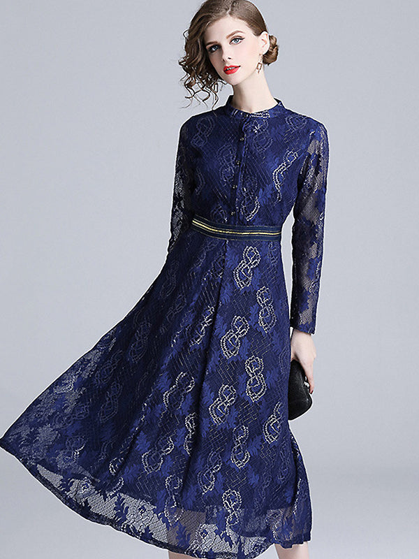 Elegant Lace Pure Color Long Sleeve Stand Collar Skater Dress