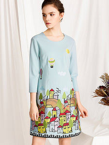 Chic Carrton Embroidery O-Neck 3/4 Sleeve Fit & Flare Dress