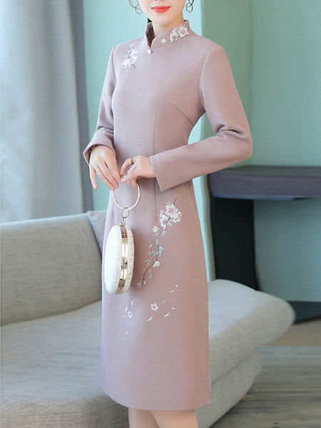Folk Elegant Embroidery Cheongsam Stand Collar Long Sleeve Midi Dress