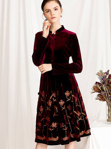 Chic Velour Floral Embroidery Stand Collar Long Sleeve Big Hem Dress