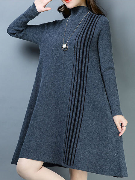 Stylish Stripe Knitted High Collar Long Sleeve A-Line Dress