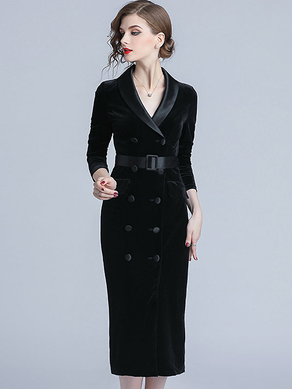 Elegant Hit Color Stitching Buttoned V-neck Long Sleeve Belted Midi Dres