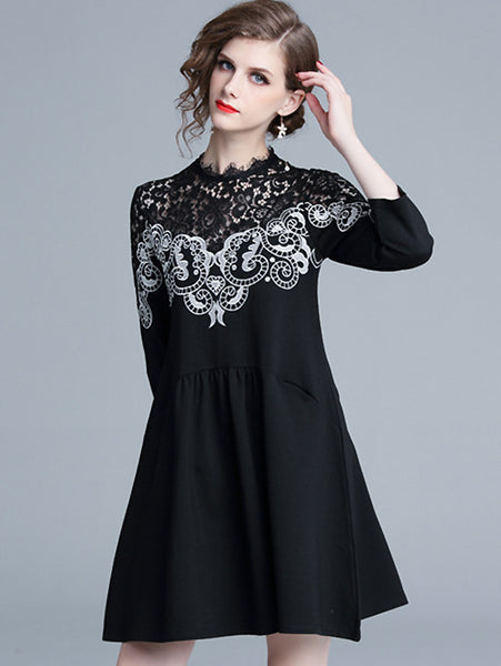 Suave Lace Stitching Plain Loose Fit & Flare Dress