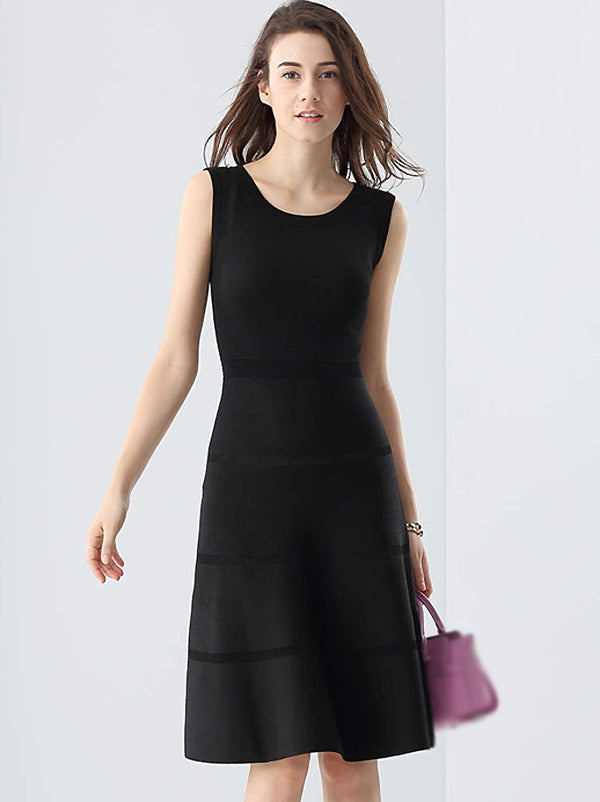 Simple Stitching Pure Color O-Neck Sleeveless Fit & Flare Dress
