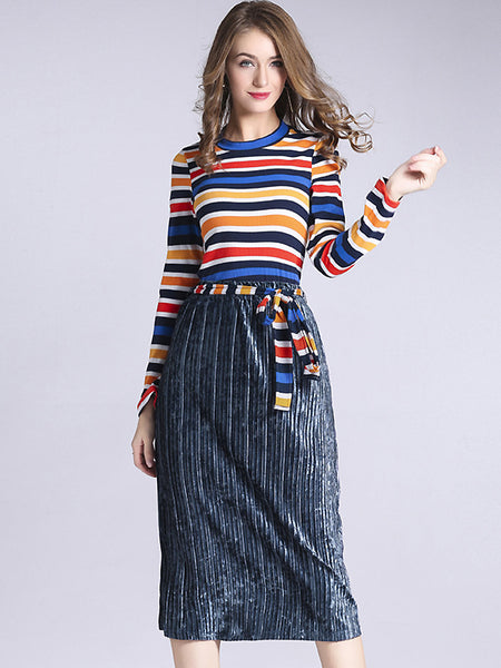 Sweet Stripe Pullover And Velour Pleated Dress Two Pieces