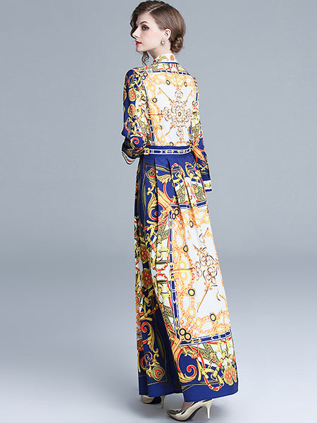 Vintage Floral Print Single-Breasted Long Sleeve Pleated Maxi Dress
