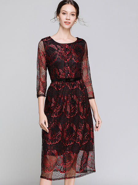 Vintage Lace Hollow Out Buttoned O-Neck 3/4 Sleeve Midi Dress