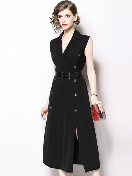 Fashion Double-Breasted Lapel Collar Sleeveless Slit Maxi Dress